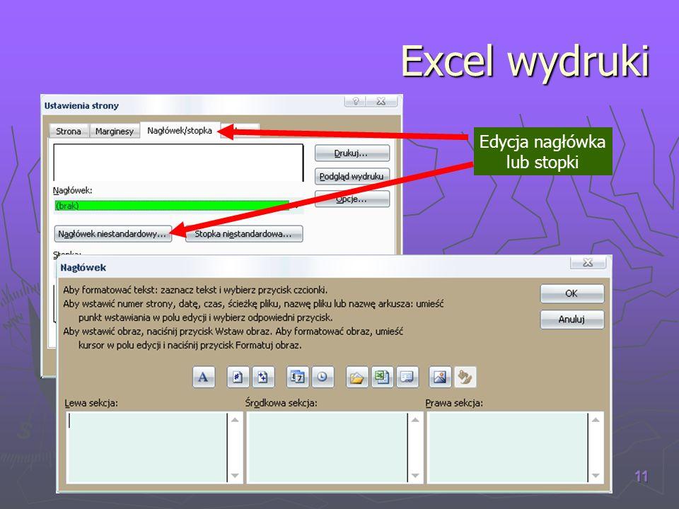 (C) W.K. 2007 11 Excel wydruki Edycja nagłówka lub stopki