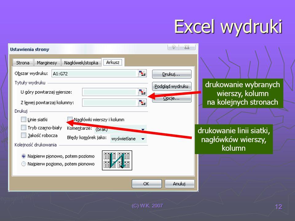 (C) W.K. 2007 12 Excel wydruki drukowanie wybranych wierszy, kolumn na kolejnych stronach drukowanie linii siatki, nagłówków wierszy, kolumn