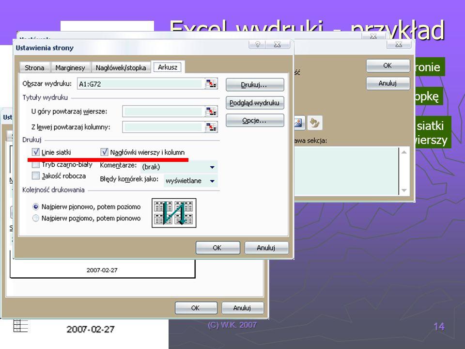 (C) W.K. 2007 14 Excel wydruki - przykład wydruk mieści się na jednej stronie wydruk posiada nagłówek i stopkę wydruk posiada linie siatki i nagłówki