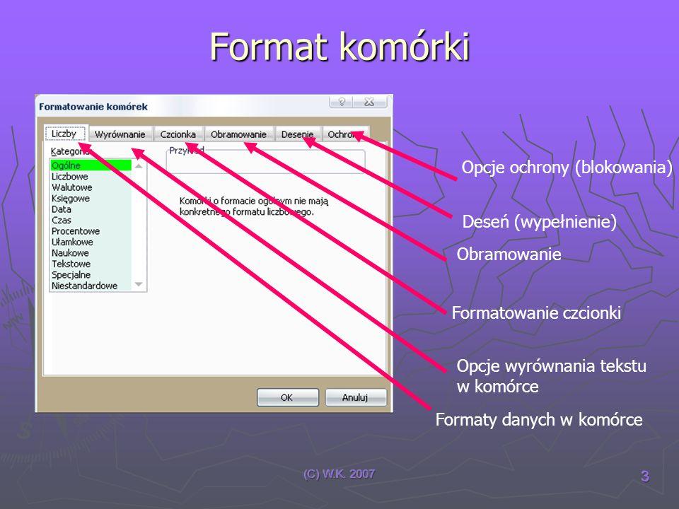 (C) W.K. 2007 3 Format komórki Opcje ochrony (blokowania) Deseń (wypełnienie) Obramowanie Formatowanie czcionki Opcje wyrównania tekstu w komórce Form