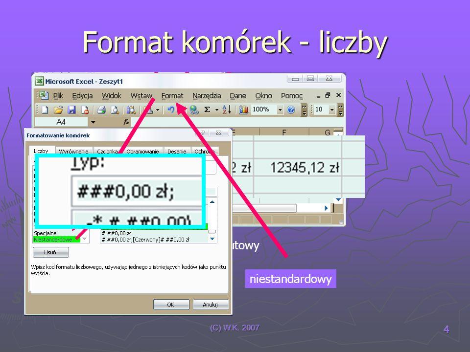 (C) W.K. 2007 5 Dane i formuły Dane Formuła =, - lub + operatory Adresy komórek Funkcje