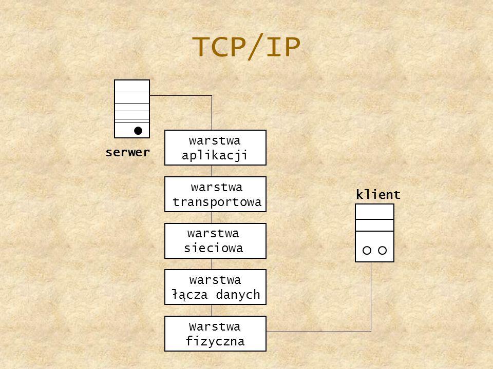 TCP/IP serwer warstwa aplikacji warstwa transportowa klient warstwa sieciowa warstwa łącza danych Warstwa fizyczna