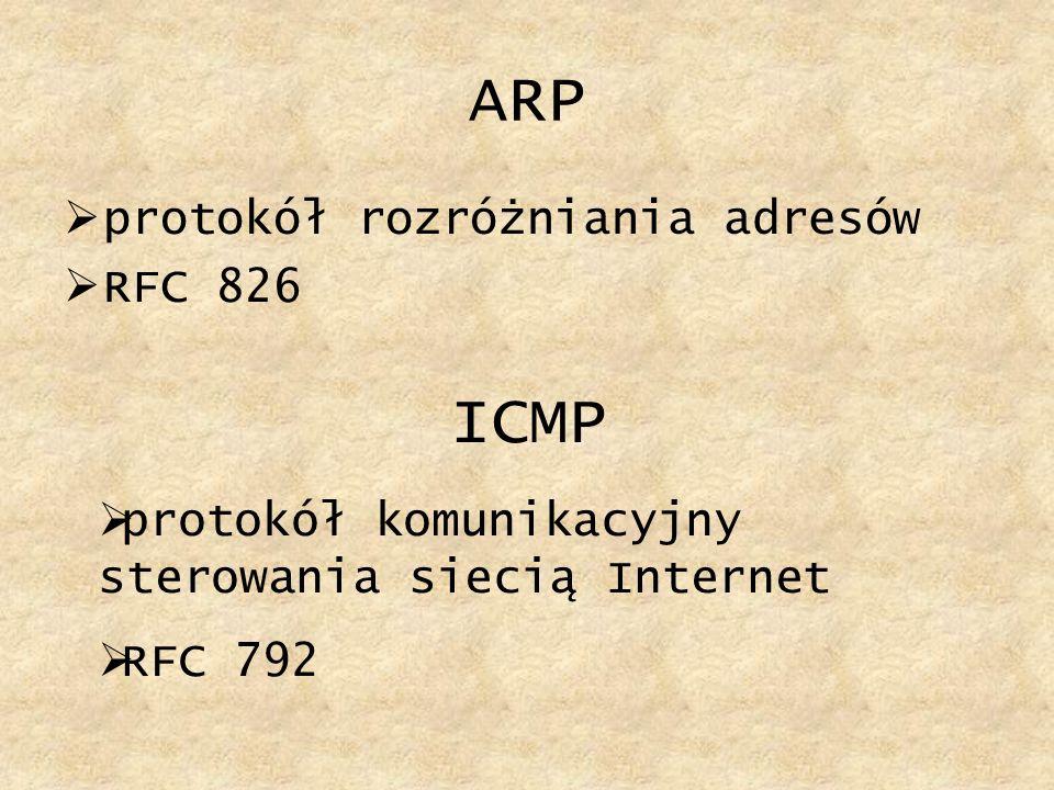 ARP protokół rozróżniania adresów RFC 826 ICMP protokół komunikacyjny sterowania siecią Internet RFC 792