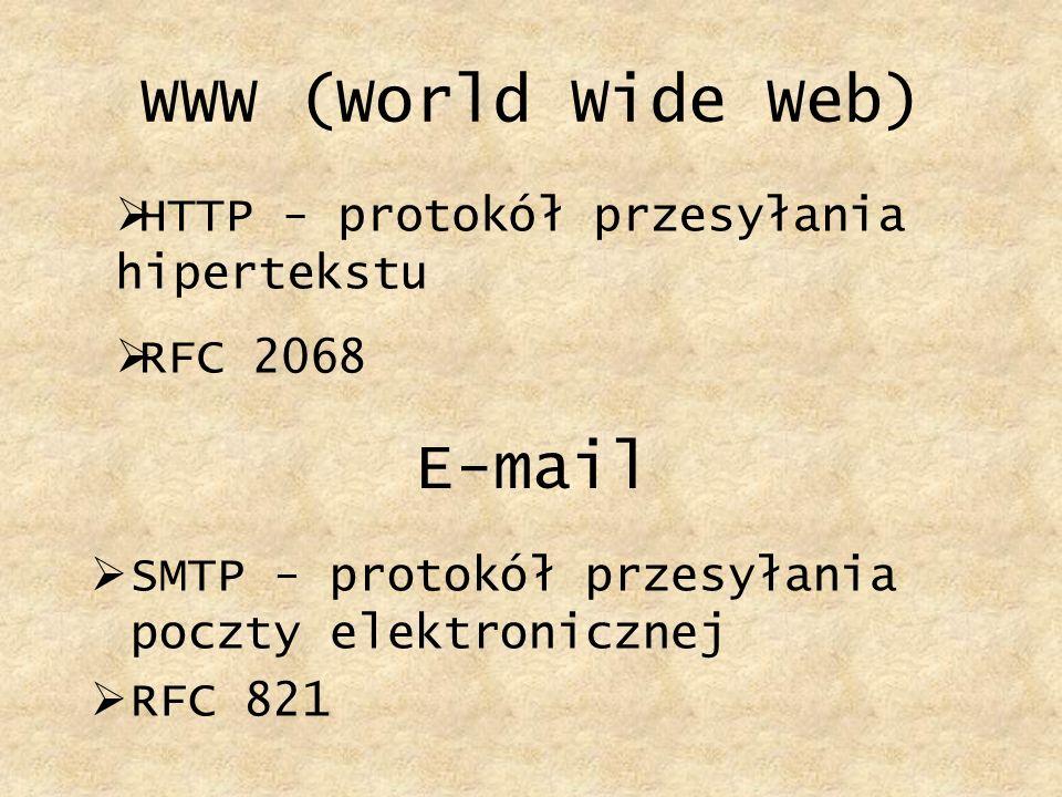 WWW (World Wide Web) HTTP - protokół przesyłania hipertekstu RFC 2068 E-mail SMTP - protokół przesyłania poczty elektronicznej RFC 821