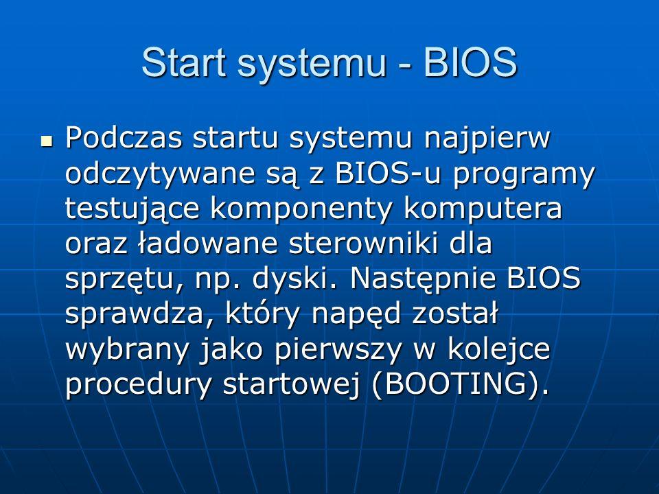 Start systemu - BIOS Podczas startu systemu najpierw odczytywane są z BIOS-u programy testujące komponenty komputera oraz ładowane sterowniki dla sprz