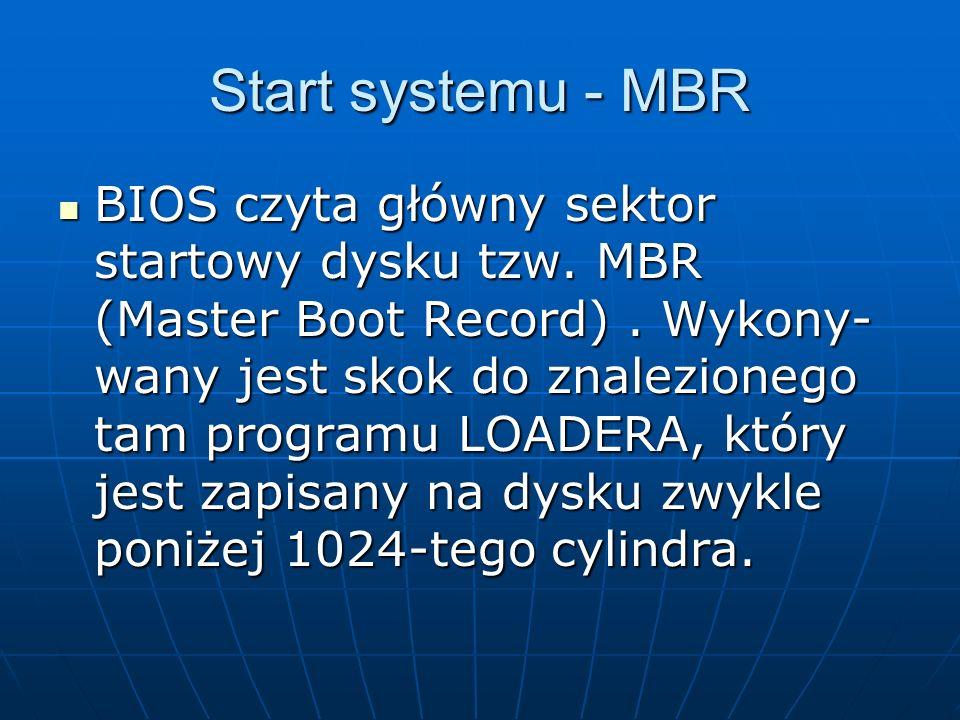 Start systemu - MBR BIOS czyta główny sektor startowy dysku tzw. MBR (Master Boot Record). Wykony- wany jest skok do znalezionego tam programu LOADERA