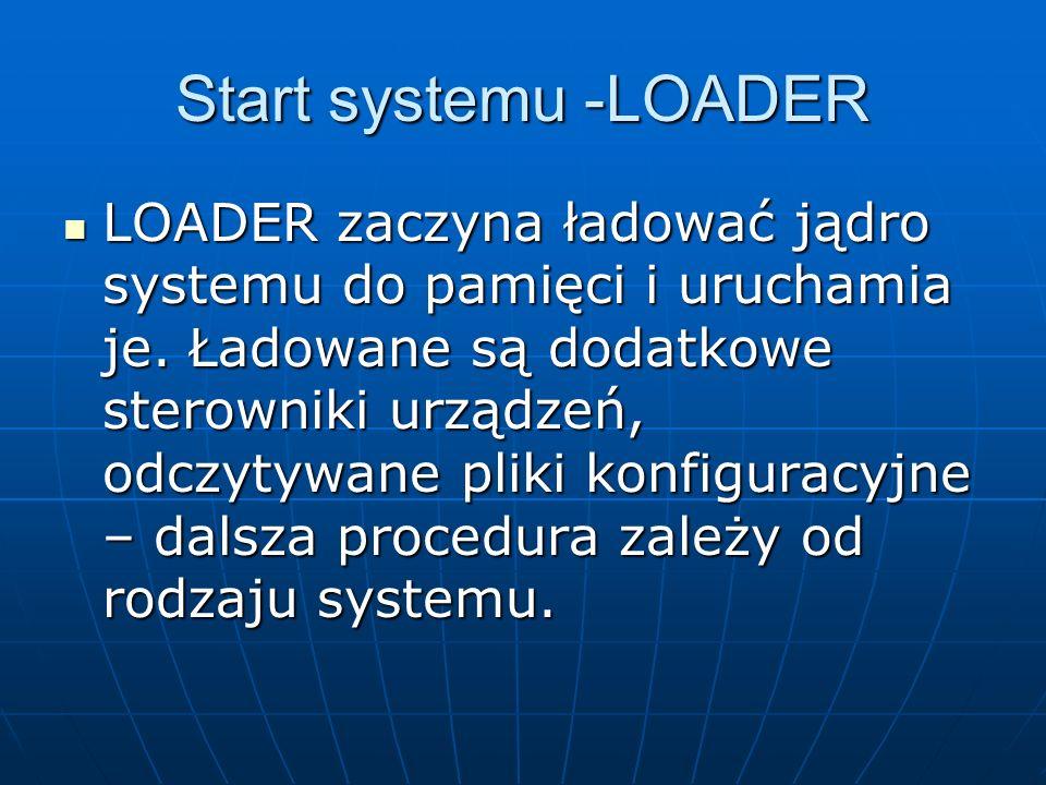 Start systemu -LOADER LOADER zaczyna ładować jądro systemu do pamięci i uruchamia je. Ładowane są dodatkowe sterowniki urządzeń, odczytywane pliki kon