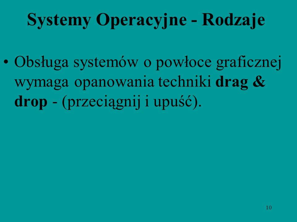 10 Systemy Operacyjne - Rodzaje Obsługa systemów o powłoce graficznej wymaga opanowania techniki drag & drop - (przeciągnij i upuść).