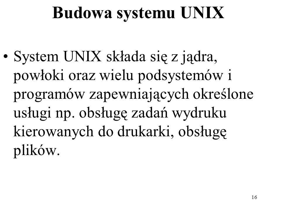16 Budowa systemu UNIX System UNIX składa się z jądra, powłoki oraz wielu podsystemów i programów zapewniających określone usługi np. obsługę zadań wy