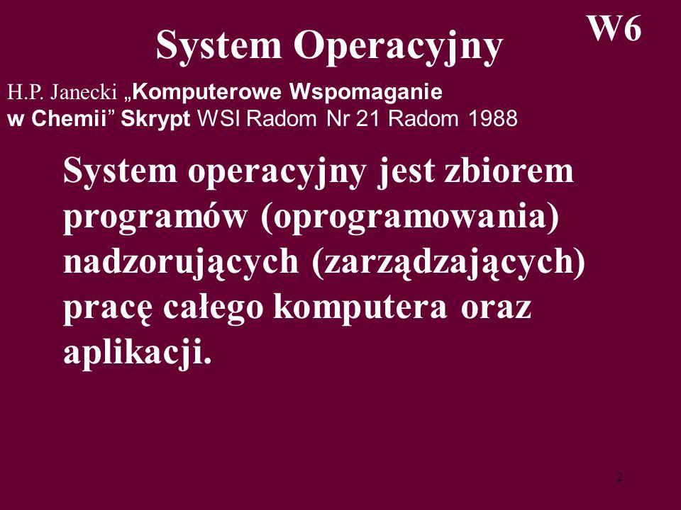 2 System Operacyjny W6 H.P. JaneckiKomputerowe Wspomaganie w Chemii Skrypt WSI Radom Nr 21 Radom 1988 System operacyjny jest zbiorem programów (oprogr