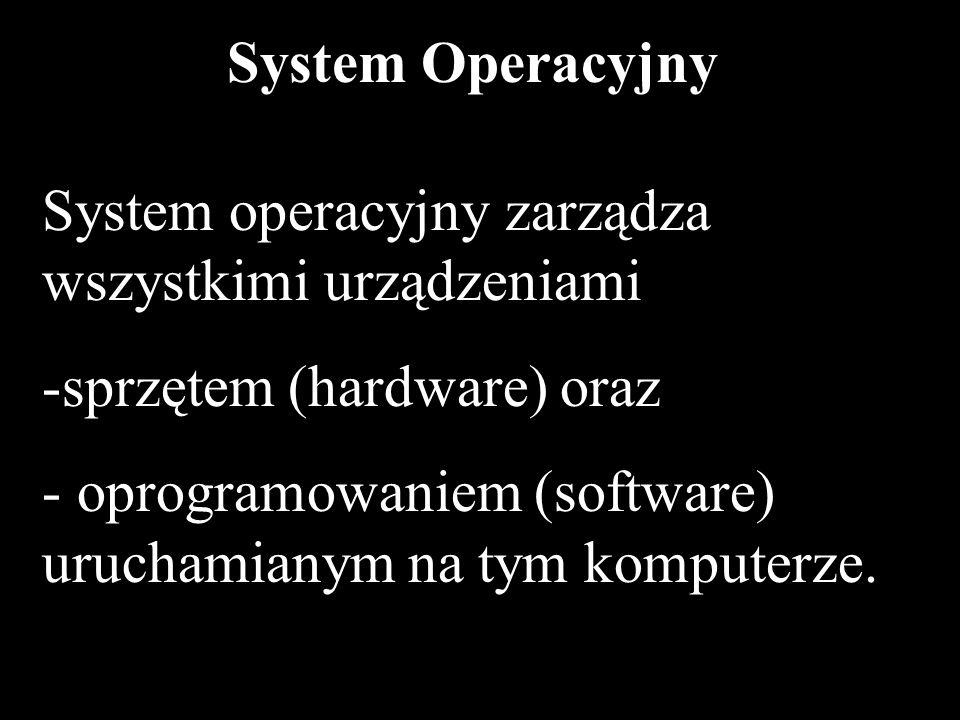 3 System Operacyjny System operacyjny zarządza wszystkimi urządzeniami -sprzętem (hardware) oraz - oprogramowaniem (software) uruchamianym na tym komp