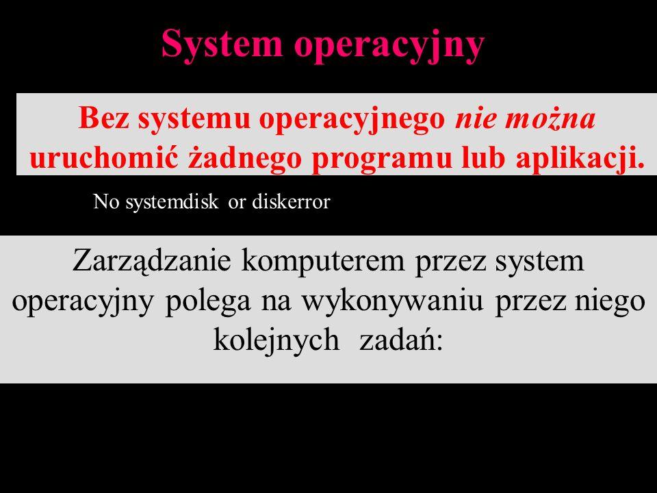 5 System Operacyjny Obsługa zadań obsługa dialogu pomiędzy użytkownikiem i komputerem, nadzorowanie wymiany pomiędzy urządzeniami zewnętrznymi i jednostką centralną,