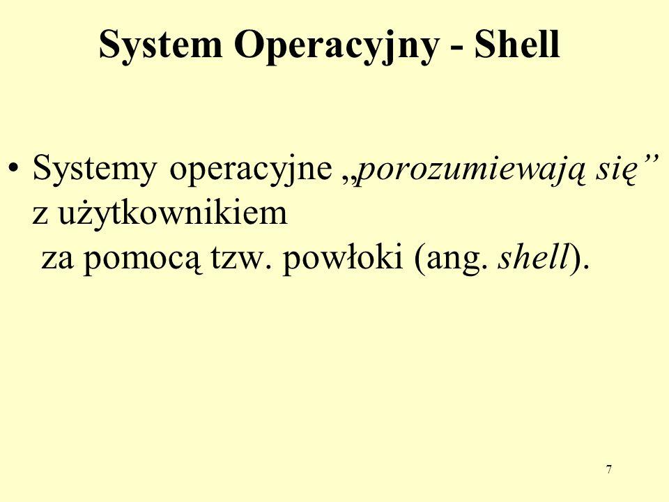 7 System Operacyjny - Shell Systemy operacyjne porozumiewają się z użytkownikiem za pomocą tzw. powłoki (ang. shell).