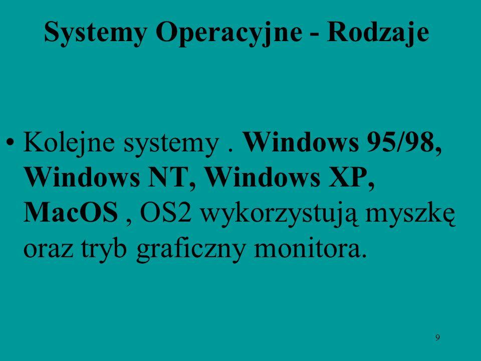 9 Systemy Operacyjne - Rodzaje Kolejne systemy. Windows 95/98, Windows NT, Windows XP, MacOS, OS2 wykorzystują myszkę oraz tryb graficzny monitora.