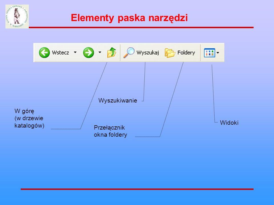 Elementy paska narzędzi W górę (w drzewie katalogów) Widoki Przełącznik okna foldery Wyszukiwanie