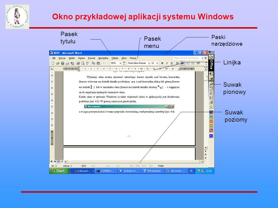 Okno przykładowej aplikacji systemu Windows Pasek menu Pasek tytułu Paski narzędziowe Linijka Suwak pionowy Suwak poziomy