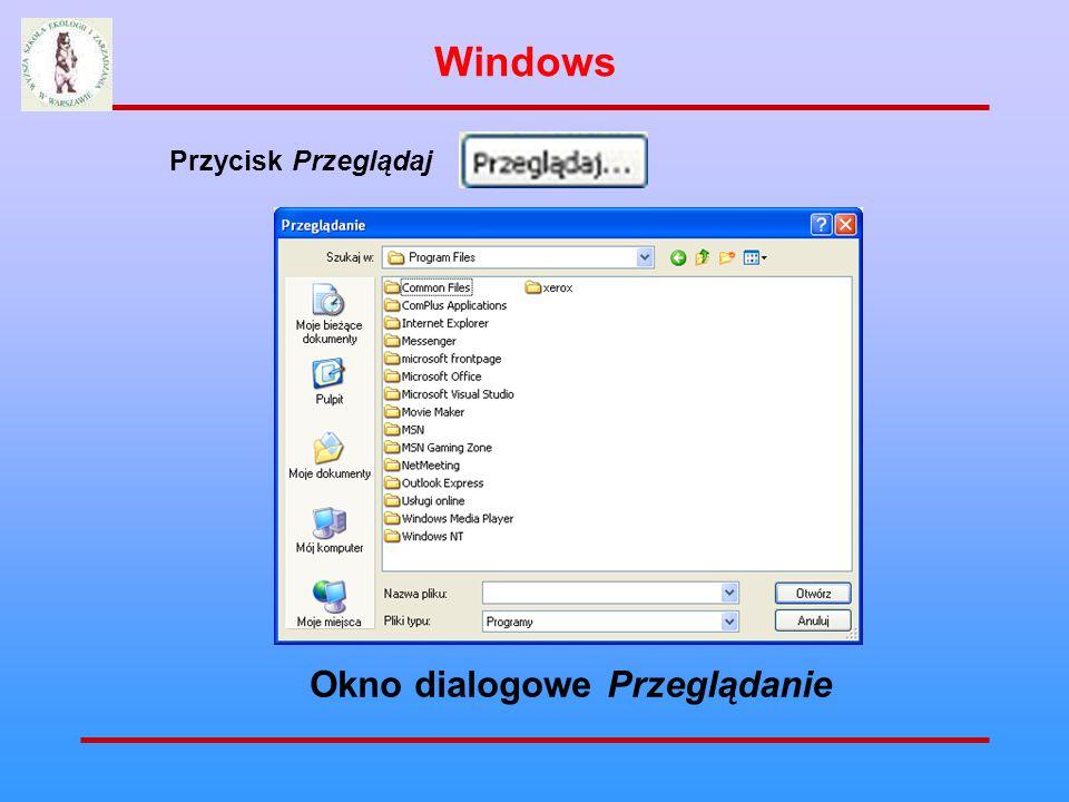 Przycisk Przeglądaj Okno dialogowe Przeglądanie Windows