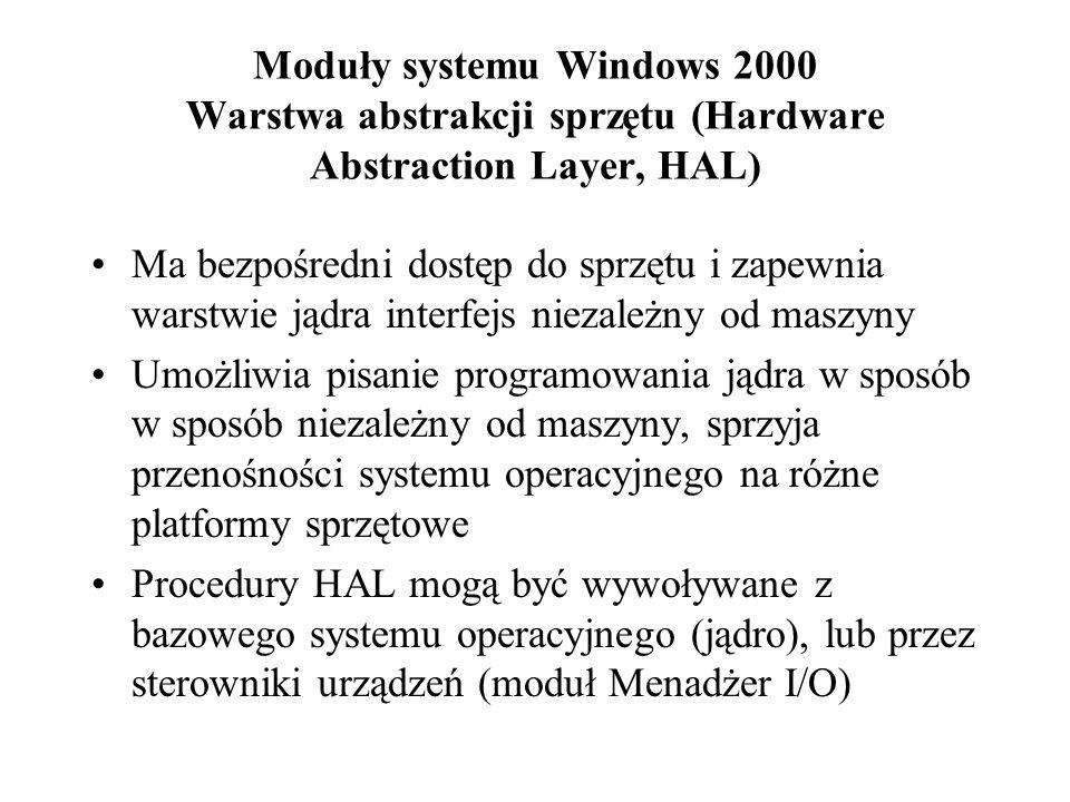 Podsystemy środowiskowe procesy działające w trybie użytkownika zadanie: umożliwienie systemowi NT wykonywania programów opracowanych dla innych systemów operacyjnych: –16 bitowy Windows –MS DOS –POSIX –znakowe aplikacje 16-bitowego systemu OS/2 każdy podsystem środowiskowy zawiera interfejs programowania aplikacji (API) lub przeznaczone dla aplikacji środowisko System NT korzysta z podsystemu Win32 jako głównego środowiska operacyjnego, który jest używany do rozpoczynania wszystkich procesów gdy ma nastąpić wykonanie aplikacji: podsystem WIn32 wywołuje zarządcę pamięci wirtualnej, aby załadował kod aplikacji zarządca pamięci zwraca podsystemowi Win 32 informacje o rodzaju kodu wykonywalnego jeśli to nie jest rdzenny kod wykonywalny Win32, to sprawdzane jest, czy działa odpowiedni podsystem środowiskowy i – jeśli podsystem nie jest wykonywany – następuje jego uruchomienie w trybie użytkownika podsystem Win 32 tworzy proces do wykonania aplikacji i przekazuje sterowanie właściwemu podsystemowi środowiskowemu