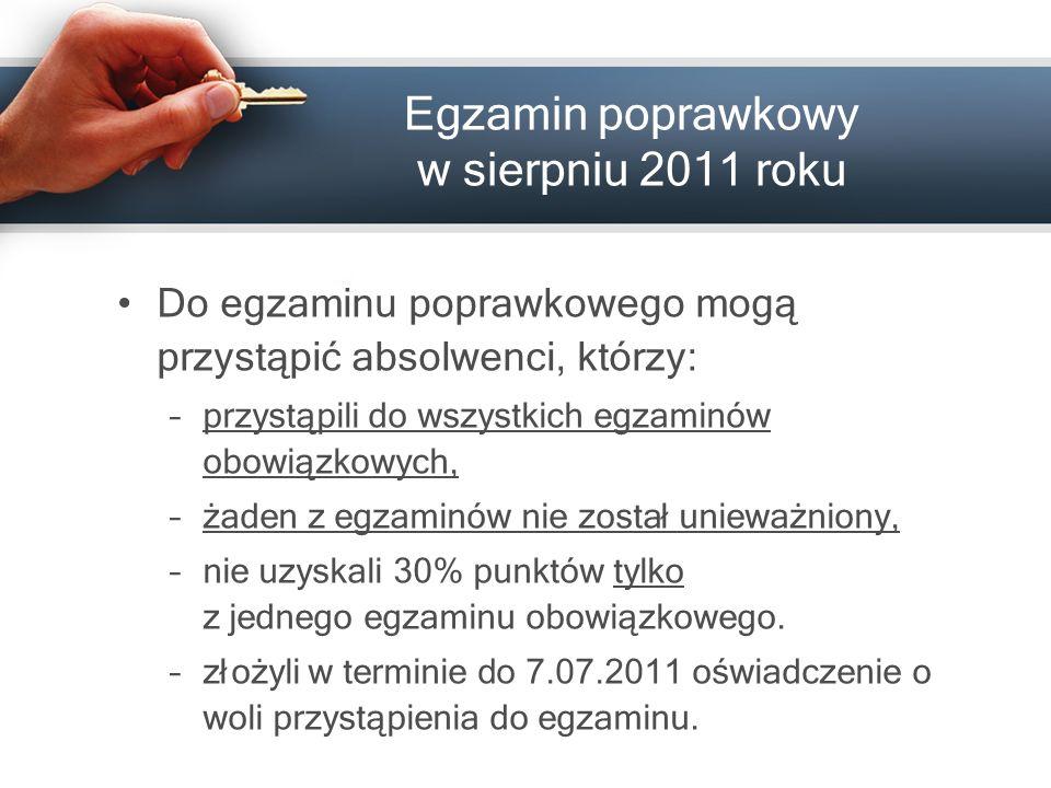Egzamin poprawkowy w sierpniu 201 1 roku Do egzamin u poprawkowego mogą przystąpić absolwenci, którzy: –przystąpili do wszystkich egzaminów obowiązkow