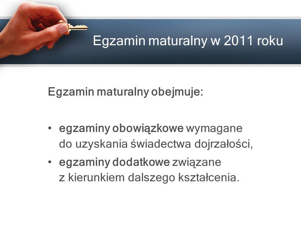 Egzamin maturalny w 201 1 roku Egzamin maturalny obejmuje: egzaminy obowiązkowe wymagane do uzyskania świadectwa dojrzałości, egzaminy dodatkowe związ