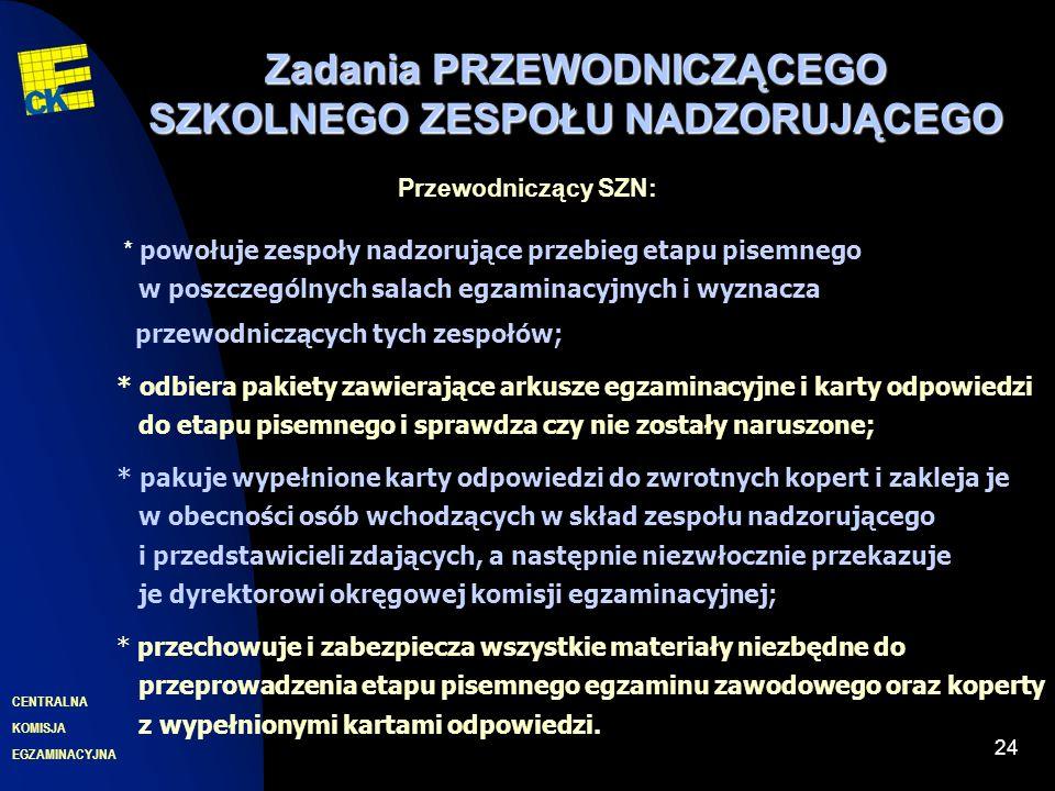 EGZAMINACYJNA CENTRALNA KOMISJA 24 Zadania PRZEWODNICZĄCEGO SZKOLNEGO ZESPOŁU NADZORUJĄCEGO Przewodniczący SZN: * powołuje zespoły nadzorujące przebie