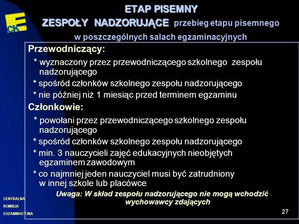 EGZAMINACYJNA CENTRALNA KOMISJA 27 ETAP PISEMNY ZESPOŁYNADZORUJĄCE ETAP PISEMNY ZESPOŁY NADZORUJĄCE przebieg etapu pisemnego w poszczególnych salach e