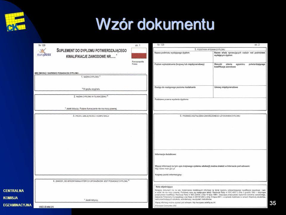 EGZAMINACYJNA CENTRALNA KOMISJA 35 Wzór dokumentu