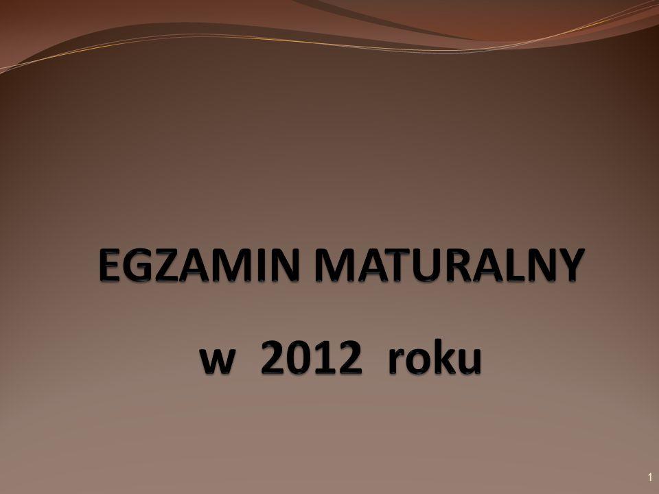 Egzamin maturalny w 2012 roku Egzamin maturalny obejmuje: egzaminy obowiązkowe wymagane do uzyskania świadectwa dojrzałości, egzaminy dodatkowe związane z kierunkiem dalszego kształcenia.