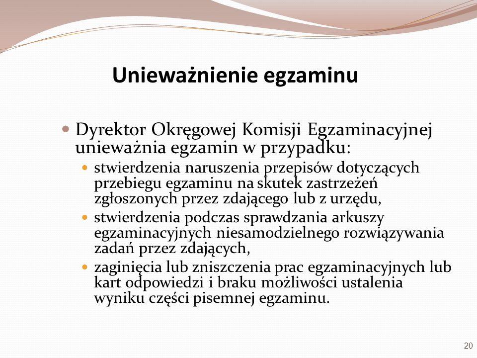 Unieważnienie egzaminu Dyrektor Okręgowej Komisji Egzaminacyjnej unieważnia egzamin w przypadku: stwierdzenia naruszenia przepisów dotyczących przebie