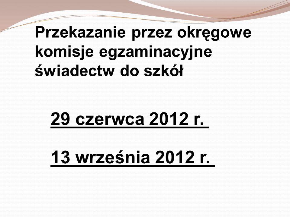 Przekazanie przez okręgowe komisje egzaminacyjne świadectw do szkół 13 września 2012 r. 29 czerwca 2012 r.