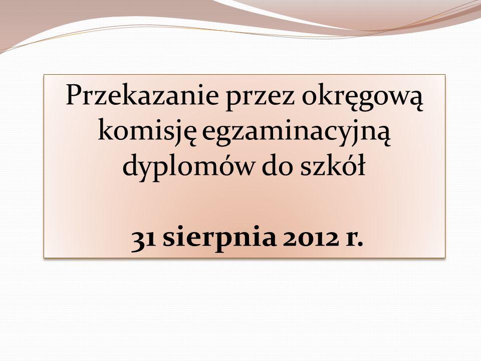 Przekazanie przez okręgową komisję egzaminacyjną dyplomów do szkół 31 sierpnia 2012 r. Przekazanie przez okręgową komisję egzaminacyjną dyplomów do sz