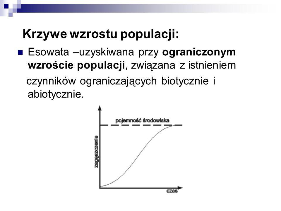 Krzywe wzrostu populacji: Esowata –uzyskiwana przy ograniczonym wzroście populacji, związana z istnieniem czynników ograniczających biotycznie i abiot