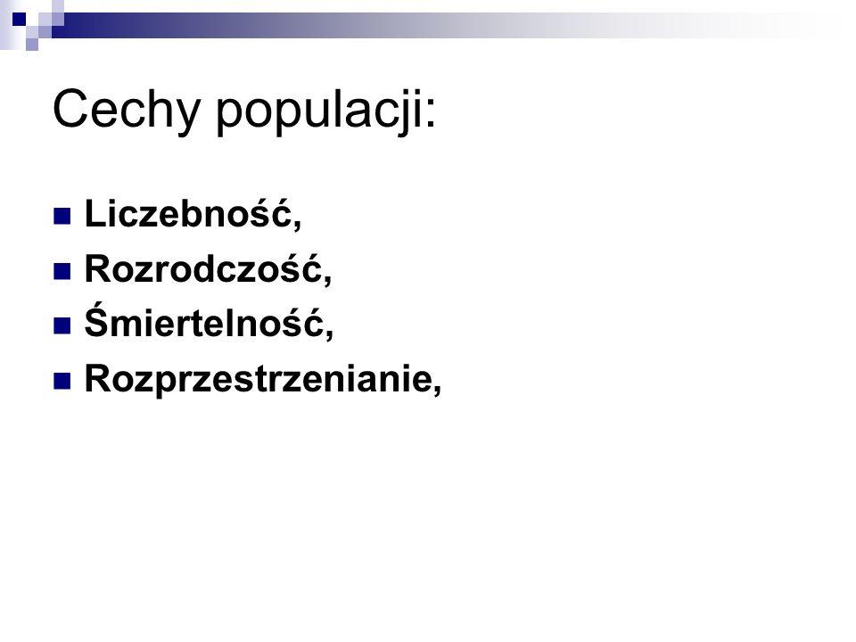Cechy populacji: Liczebność, Rozrodczość, Śmiertelność, Rozprzestrzenianie,