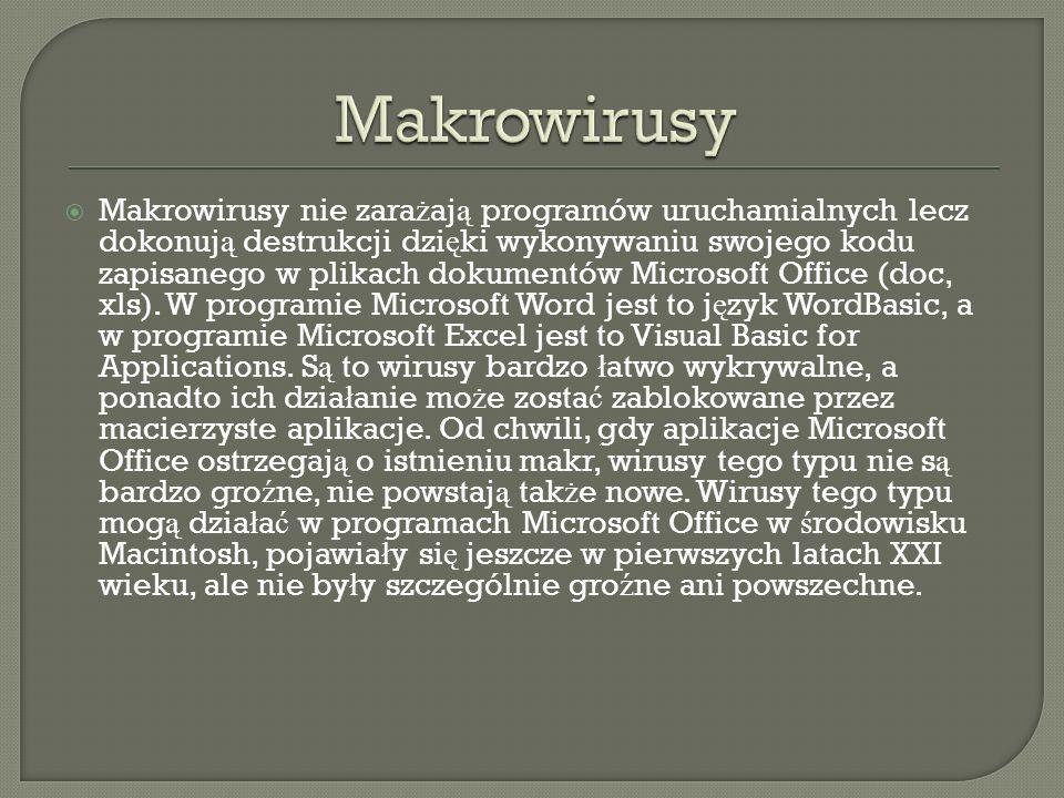 Makrowirusy nie zara ż aj ą programów uruchamialnych lecz dokonuj ą destrukcji dzi ę ki wykonywaniu swojego kodu zapisanego w plikach dokumentów Micro