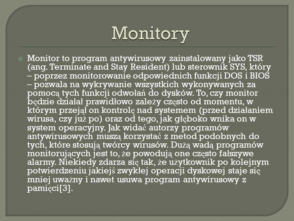 Monitor to program antywirusowy zainstalowany jako TSR (ang. Terminate and Stay Resident) lub sterownik SYS, który – poprzez monitorowanie odpowiednic