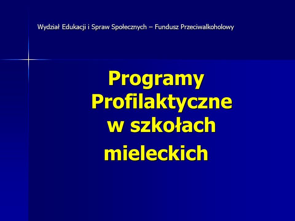 Wydział Edukacji i Spraw Społecznych – Fundusz Przeciwalkoholowy Programy Profilaktyczne w szkołach mieleckich