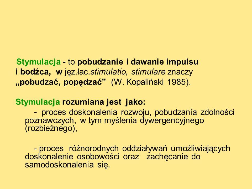 Stymulacja - to pobudzanie i dawanie impulsu i bodźca, w jęz.łac.stimulatio, stimulare znaczy pobudzać, popędzać (W.