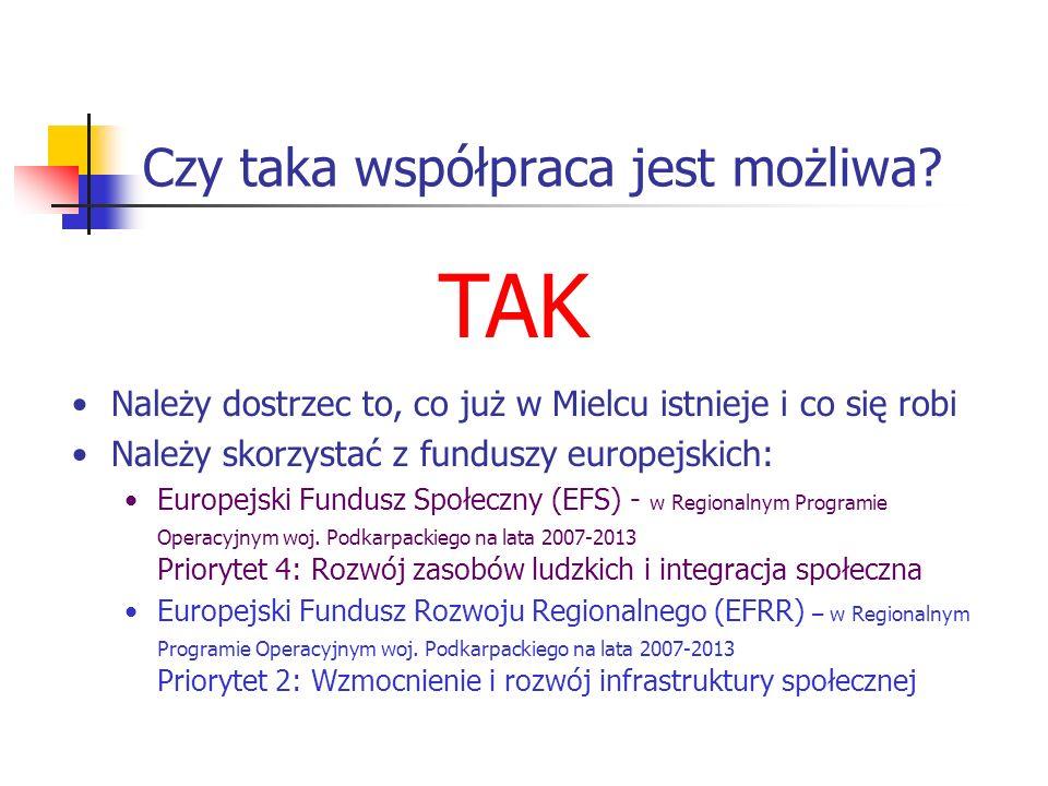 Czy taka współpraca jest możliwa? Należy dostrzec to, co już w Mielcu istnieje i co się robi Należy skorzystać z funduszy europejskich: Europejski Fun