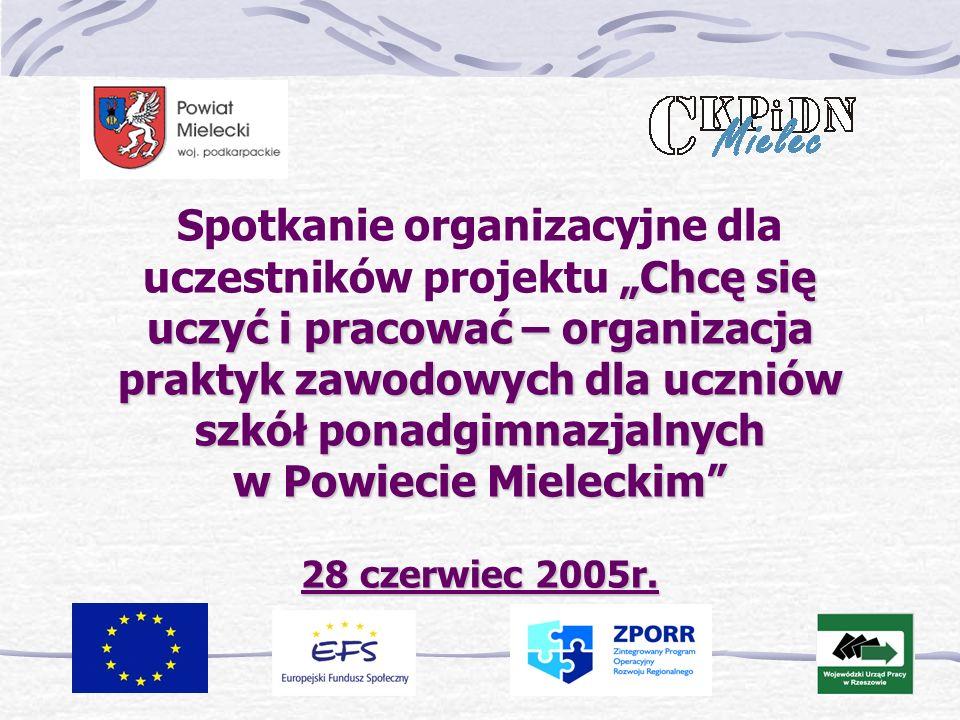 Chcę się uczyć i pracować – organizacja praktyk zawodowych dla uczniów szkół ponadgimnazjalnych w Powiecie Mieleckim 28 czerwiec 2005r.