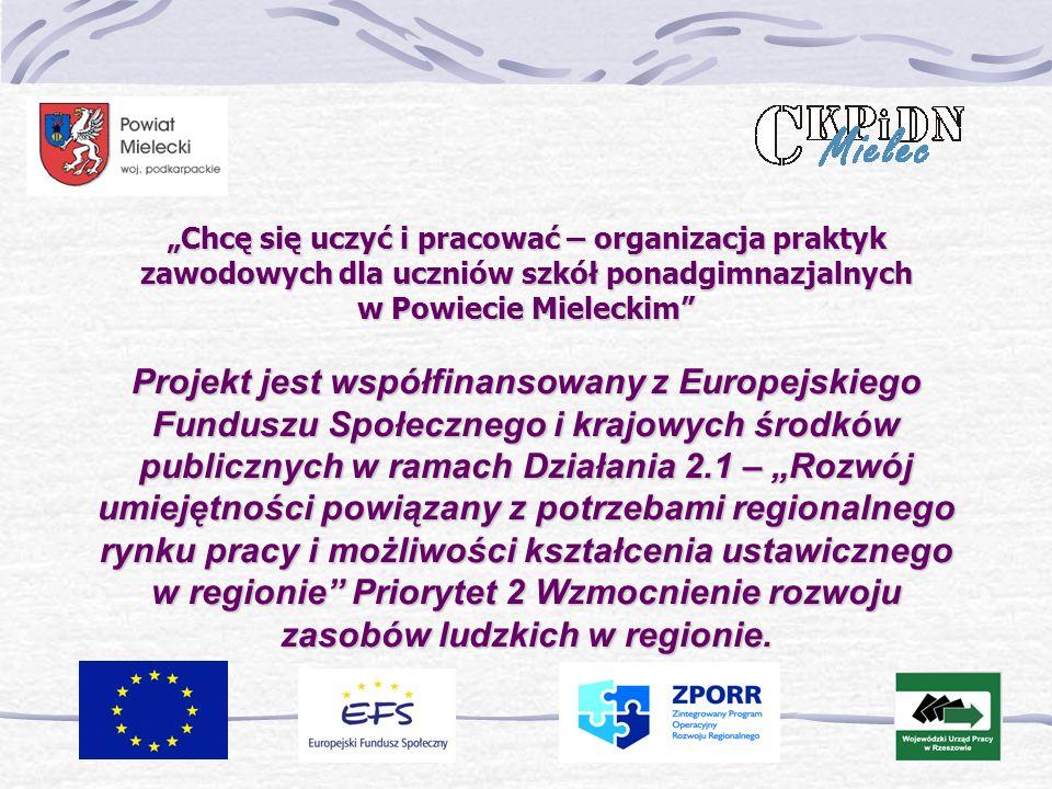 Chcę się uczyć i pracować – organizacja praktyk zawodowych dla uczniów szkół ponadgimnazjalnych w Powiecie Mieleckim Projekt jest współfinansowany z Europejskiego Funduszu Społecznego i krajowych środków publicznych w ramach Działania 2.1 – Rozwój umiejętności powiązany z potrzebami regionalnego rynku pracy i możliwości kształcenia ustawicznego w regionie Priorytet 2 Wzmocnienie rozwoju zasobów ludzkich w regionie.