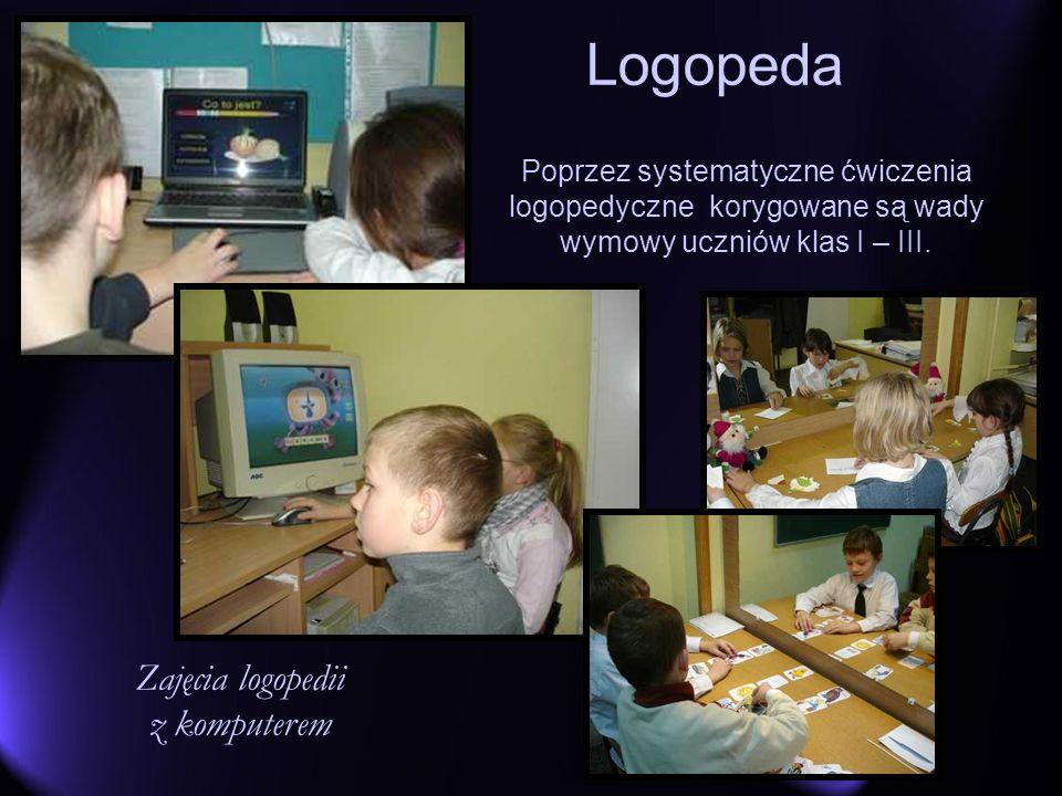 Logopeda Poprzez systematyczne ćwiczenia logopedyczne korygowane są wady wymowy uczniów klas I – III. Zajęcia logopedii z komputerem