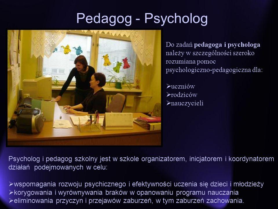 Pedagog - Psycholog Psycholog i pedagog szkolny jest w szkole organizatorem, inicjatorem i koordynatorem działań podejmowanych w celu: wspomagania roz