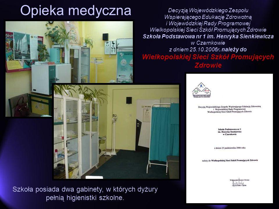 Opieka medyczna Szkoła posiada dwa gabinety, w których dyżury pełnią higienistki szkolne. Decyzją Wojewódzkiego Zespołu Wspierającego Edukację Zdrowot