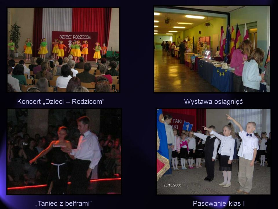 Koncert Dzieci – RodzicomWystawa osiągnięć Pasowanie klas ITaniec z belframi