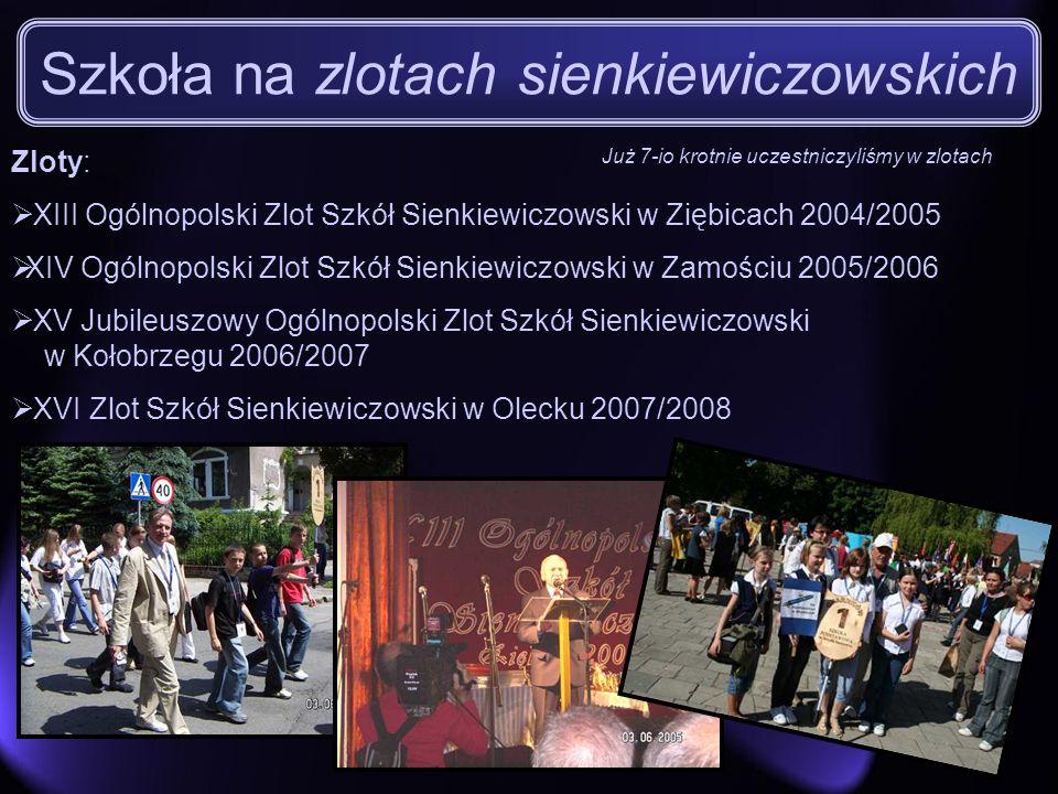 Szkoła na zlotach sienkiewiczowskich Zloty: XIII Ogólnopolski Zlot Szkół Sienkiewiczowski w Ziębicach 2004/2005 XIV Ogólnopolski Zlot Szkół Sienkiewic