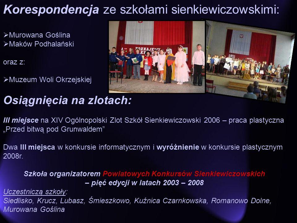 Korespondencja ze szkołami sienkiewiczowskimi: Murowana Goślina Maków Podhalański oraz z: Muzeum Woli Okrzejskiej Osiągnięcia na zlotach: III miejsce