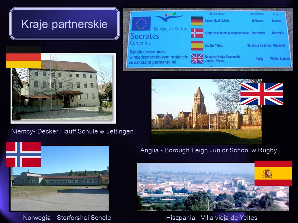 Niemcy- Decker Hauff Schule w Jettingen Anglia - Borough Leigh Junior School w Rugby Norwegia - Storforshei ScholeHiszpania - Villa vieja de Yeltes Kr