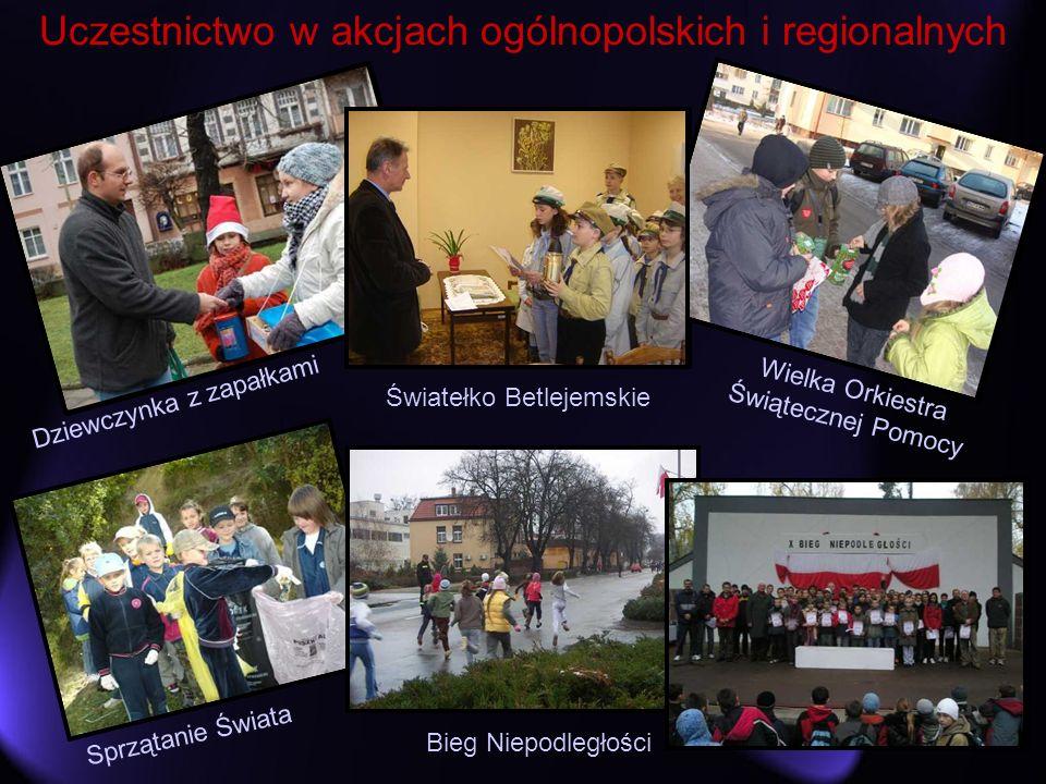 Uczestnictwo w akcjach ogólnopolskich i regionalnych Dziewczynka z zapałkami Wielka Orkiestra Świątecznej Pomocy Światełko Betlejemskie Bieg Niepodleg