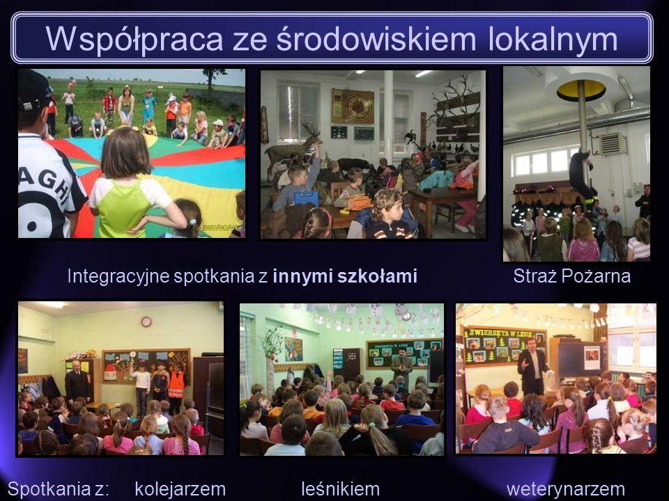 Integracyjne spotkania z innymi szkołamiStraż Pożarna Spotkania z: kolejarzem leśnikiem weterynarzem Współpraca ze środowiskiem lokalnym