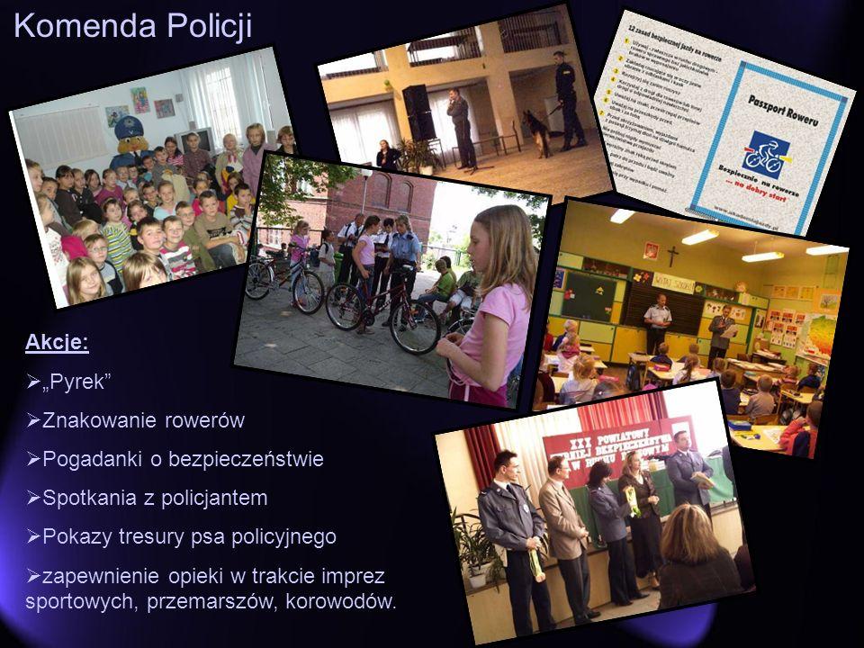 Komenda Policji Akcje: Pyrek Znakowanie rowerów Pogadanki o bezpieczeństwie Spotkania z policjantem Pokazy tresury psa policyjnego zapewnienie opieki